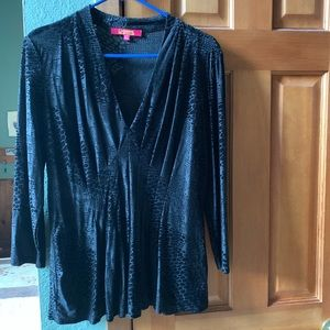 Catherine Malandrino Black Velvet Burnout Top